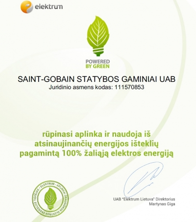Powered by Green sertifikatas Saint-Gobain
